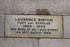 Gravierter Steingeburtsort Laurence Binyon Lancaster Großbritannien stockfotos