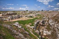 Gravina в Апулии, Бари, Италии: ландшафт острословия сельской местности Стоковая Фотография RF