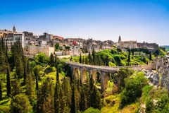 Gravina in Puglia ancient town, bridge and canyon. Apulia, Italy. Europe Stock Image