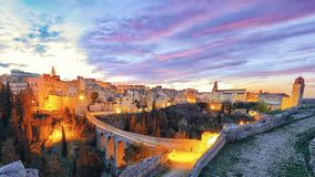 Gravina in Puglia ancient town, bridge and canyon at sunrise. Panoramic view of old city Gravina in Puglia, Apulia, Italy. Europe stock photos