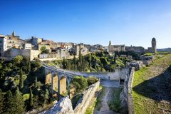 Gravina in Puglia, with the Roman two-level bridge that extends over the canyon. Apulia, Italy stock photos