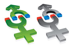 Gravitation of male and female symbols. Abstract  illustration Stock Photos