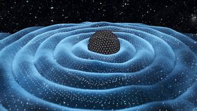 Gravitation waves around black hole in space stock images