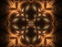 Gravitational pull kaleidoscope, too. Ornate fractal kaleidoscope with sheen Royalty Free Stock Photography
