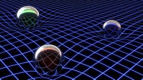 Gravitationframställning i ett abstrakt utrymme, illustration 3d stock illustrationer