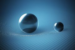 Gravity and general theory of relativity concept. Curved spacetime caused by massive spheres. 3D rendered illustration Royalty Free Stock Photos