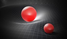 Gravity and general theory of relativity concept. Distorted spacetime caused by massive spheres. 3D rendered illustration Stock Photo