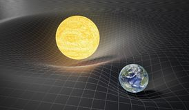 Gravity and general theory of relativity concept. Earth and Sun on distorted spacetime. 3D rendered illustration