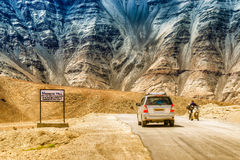 A gravity hill called Magnetic Hill , Ladakh. A gravity hill where slow speed cars are drawn against gravity is famously known as Magnetic Hill , a natural Royalty Free Stock Photo