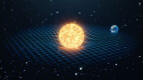 Gravity Sun and Earth bends space around it, distorted spacetime Concept gravity deforms space time grid around universe