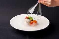 Молекулярная форель gravlax кухни с мороженым чеснока на черной предпосылке стоковые фото