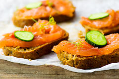 Gravlax  on bread with bran Stock Photography