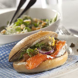 Gravlax burger Royalty Free Stock Photo