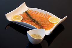 Gravlax with sauce Stock Photography