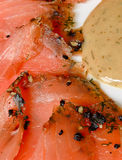 Gravlax smoked salmon slices Stock Photo
