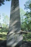 Gravsten i den Monticello kyrkogården, hem av Thomas Jefferson, Charlottesville, Virginia Arkivbild