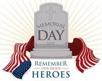 Gravsten med USA flaggan för Memorial Day, vektorillustration Arkivbilder
