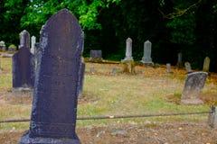 Gravsten på den banbrytande kyrkogården i Dayton Oregon Royaltyfria Foton