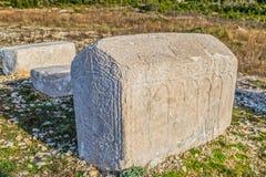 Gravstenar från medeltiden Arkivbilder