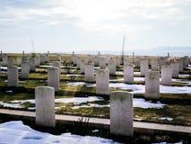 Gravstenar på den australiska nationella minnesmärken i Villers-Bretonneu Royaltyfri Fotografi