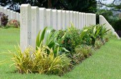 Gravstenar på Kranji Memorial Park Royaltyfri Foto