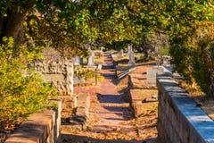 Gravstenar, träd och vandringsled på den Oakland kyrkogården, Atlanta, USA Royaltyfri Fotografi