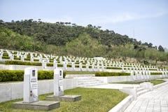 Gravstenarna på fäderneslandbefrielsekriget spelar martyr kyrkogården Pyongyang DPRK - Nordkorea Royaltyfria Foton