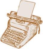 Gravura a água-forte da máquina de escrever do estilo antigo do vintage Fotografia de Stock Royalty Free