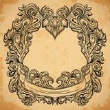 Gravura antiga do quadro da beira com teste padrão retro do ornamento Elemento decorativo do projeto do vintage no estilo barroco Fotos de Stock Royalty Free