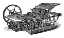 Gravura da antiguidade da máquina de impressão do vintage Fotos de Stock
