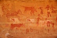 Gravura da rocha, Líbia Fotografia de Stock