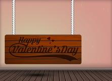 A gravura de madeira do dia de são valentim feliz em sinais de suspensão projeta Fotografia de Stock Royalty Free