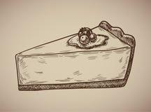 Gravura do bolo de queijo Bolo de queijo delicioso no estilo do esboço Ilustração do vetor Fotografia de Stock Royalty Free