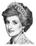 Gravura do vetor da princesa Diana fotos de stock royalty free
