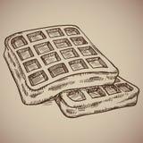 Gravura dos waffles Refeição deliciosa da manhã ao estilo do contador Ilustração do vetor Imagem de Stock Royalty Free