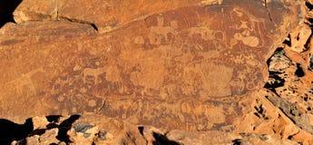 Gravuras em Twyfelfontein, Namíbia da rocha Imagens de Stock
