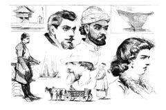 Gravuras, ilustrações dos povos de nacionalidades diferentes Fotografia de Stock Royalty Free