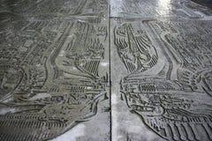 Gravure à l'eau-forte en métal par H r Giger dépeignant une conception inspirée par thème étranger Images stock