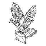 Gravure animale de courrier d'oiseau mécanique de pigeon Photographie stock libre de droits