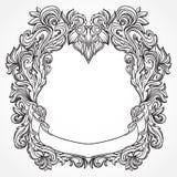 Gravure antique de cadre de frontière avec le rétro modèle d'ornement Élément décoratif de conception de vintage dans le style ba Photos stock