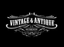 Gravure antique occidentale de label de cadre de frontière d'insigne de vintage rétro illustration stock