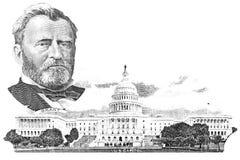 Gravure av Ulysses S. Grant och Kapitolium Arkivbilder