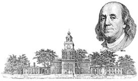 Gravure of Benjamin Franklin and Independence Hall Stock Photos