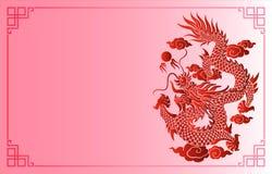 Gravure chinoise de dragon de vintage avec le rétro modèle d'ornement dedans illustration de vecteur