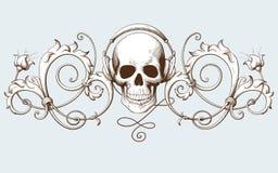 Gravure décorative d'élément de vintage avec le modèle baroque d'ornement et crâne avec des écouteurs Photographie stock libre de droits