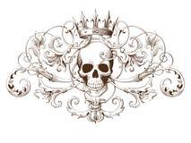 Gravure décorative d'élément de vintage avec le modèle et le crâne baroques d'ornement Photographie stock