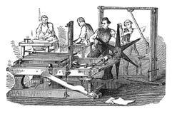 Gravure d'antiquité de presse lithographique Photos libres de droits