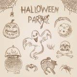 Gravure de partie de Halloween hachant la rétro bannière de vecteur de vintage illustration de vecteur