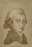 Gravure de sépia de caricature d'Amadeus Mozart Images libres de droits
