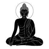 Gravure de vintage de Bouddha de vecteur avec le rétro ornement Photo libre de droits